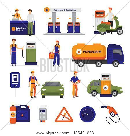 Gas and petrol station icons set with people flat isolated vector illustration