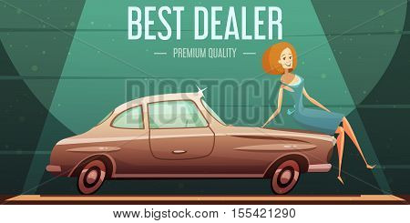 Best selling vintage cars dealer premium service low prices retro advertisement poster with girl cartoon vector illustration