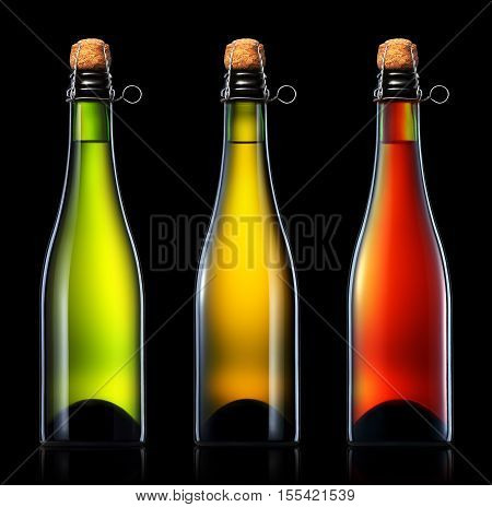 Bottle of beer, cider or champagne isolated on blackbackground