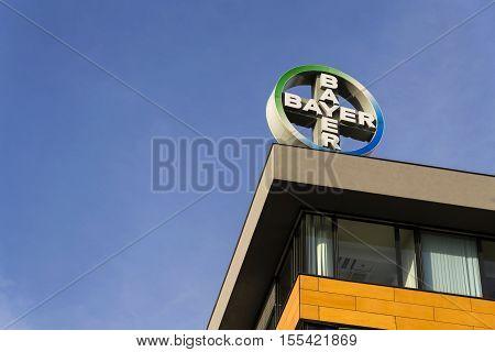Prague, Czech Republic - November 7: Bayer Pharmaceutical Company Logo On The Building Of Czech Head