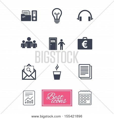 Office, documents and business icons. Accounting, human resources and group signs. Mail, ideas and money case symbols. Report document, calendar icons. Vector