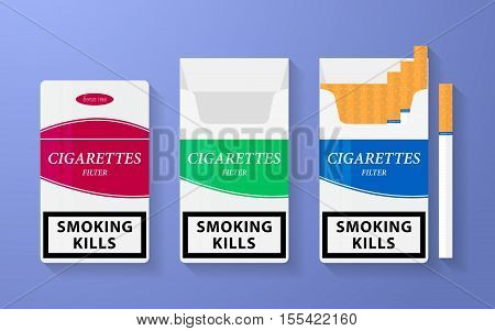 Icon of cigarette pack. The open, empty and closed boxes with an inscription - smoking kills. Vector illustration