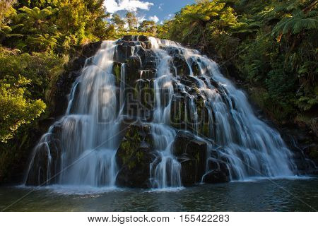Beautiful waterfall at town of Waihi, North island of New Zealand