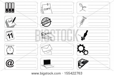 Science and industry icon symbol business sticker item print for short note and clipping path.