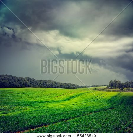 Dark Landscape with Green Field and Gray Storm Sky. Moody HDR Styled Stormy Cloudscape. Toned and Filtered Dramatic Photo with Copy Space.