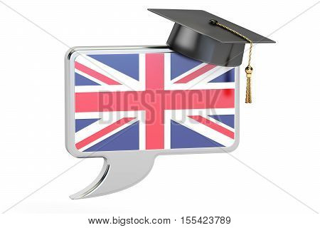 Speech bubble with English flag learning concept. 3D rendering