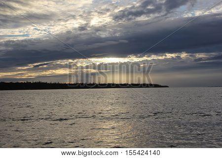 Rain clouds over Lake Huron in Michigan's Upper Peninsula