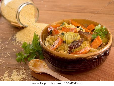 Couscous With Carrots, Celery, Leak And Stewed Meat