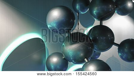 Molecule model design element. Architectural decoration under sunlight. Neon lightening on steel spheres. Chemistry theme decoration of public building interior. Grey and green abstract sculpture shot
