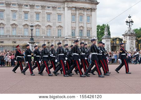 London, England - 25 July 2016 - Buckingham Palace During Changing The Guard Ceremony, Takes Place D