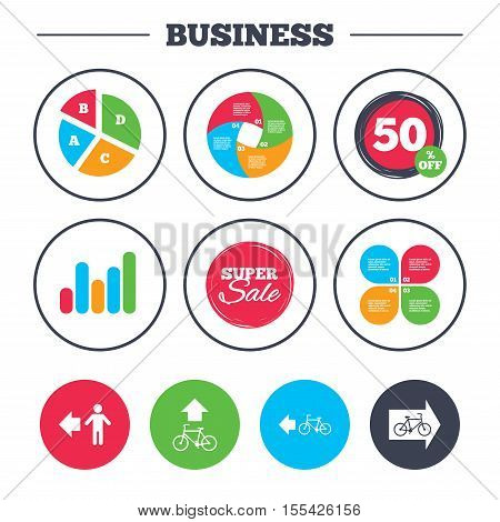 Business pie chart. Growth graph. Pedestrian road icon. Bicycle path trail sign. Cycle path. Arrow symbol. Super sale and discount buttons. Vector