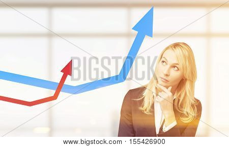 Thinking business woman is standing in office with panoramic windows and looking at blue and red growing graphs. Concept of success. Toned image