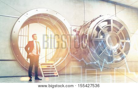 Confident businessman is standing near wide open vault door. Concept of money saving. 3d rendering. Toned image. Double exposure