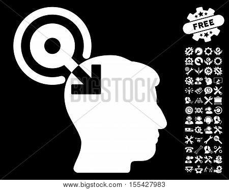 Brain Interface Plug-In icon with bonus configuration clip art. Vector illustration style is flat iconic white symbols on black background.