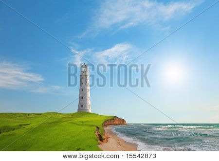 Old lighthouse on sea coast