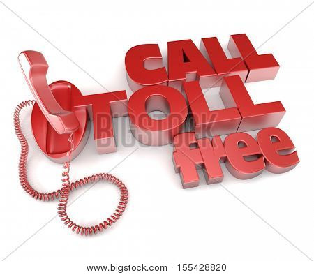 3D rendering of an unhooked telephone receiver with the words call toll free