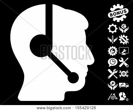 Call Center Operator icon with bonus setup tools graphic icons. Vector illustration style is flat iconic white symbols on black background.