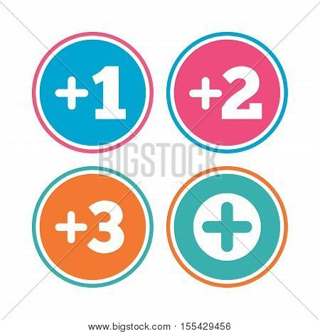 Plus icons. Positive symbol. Add one, two, three and four more sign. Colored circle buttons. Vector