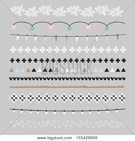 Set of Christmas borders and brushes. Party decorations with Christmas lights knitted patterns. Isolated vector objects.