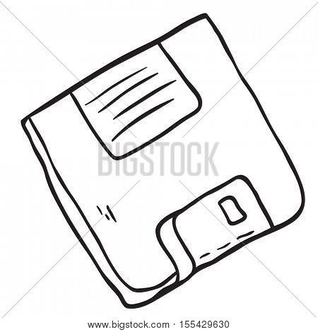 black and white  floppy disc cartoon illustration