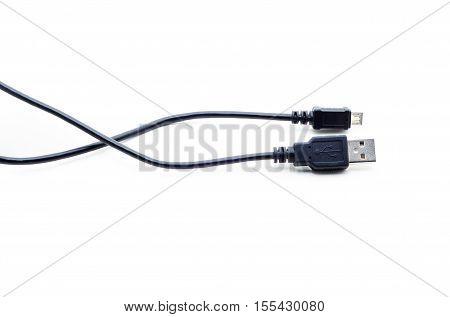 Usb cord mini usb on a white background.