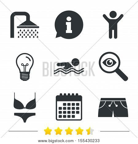 Swimming pool icons. Shower water drops and swimwear symbols. Human swims in sea waves sign. Trunks and women underwear. Information, light bulb and calendar icons. Investigate magnifier. Vector