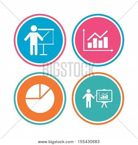 Diagram graph Pie chart icon. Presentation billboard symbol. Supply and demand. Man standing with pointer. Colored circle buttons. Vector