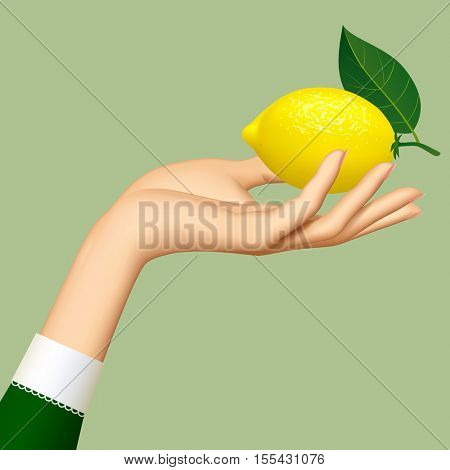 Hand of woman with a lemon isolated on green background. 3D illustration. Contains the Clipping Path
