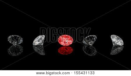 diamond classic cut red one rendering image 3d