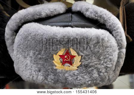 Grey Russian Soviet Red Army USSR winter fur hat called Ushanka