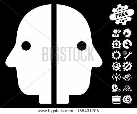 Dual Face icon with bonus setup tools pictograph collection. Vector illustration style is flat iconic white symbols on black background.