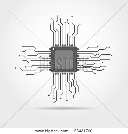 Gray chip icon in flat design. Simple microchip circuit board. Microcircuit flat sign. Vector illustration.
