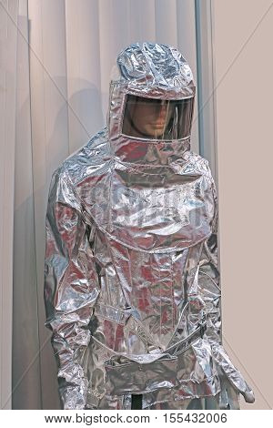 Asbestos insulated suit protective gear on mannequin