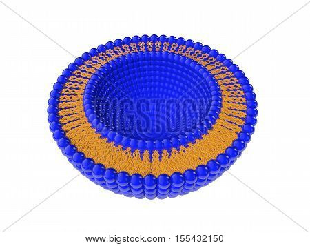 Medical 3D illustration of liposomes bi-layer structure isolated on white background