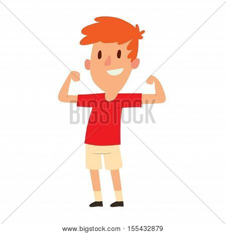 Cute little strong young boy showing off his biceps flexing his arm. Person male portrait strong young boy. Handsome casual strong young boy smile people fitness lifestyle vector character.