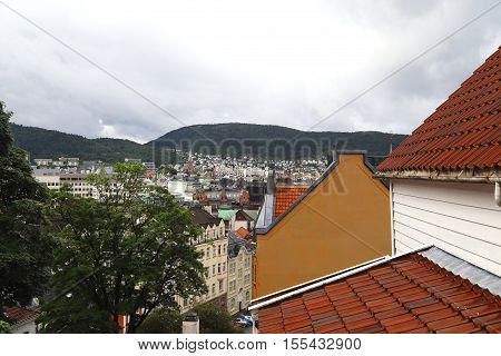 BERGEN, NORWAY - JULY 3, 2016: This is aerial view of the southern part of the city.