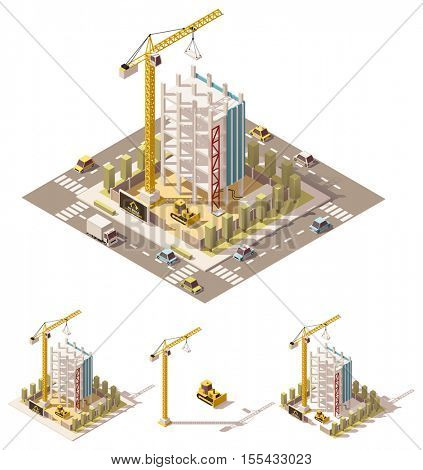 Vector isometric low poly building construction site