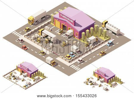 Vector isometric low poly warehouse building with trucks and forklifts