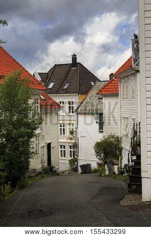 BERGEN, NORWAY - JULY 3, 2016: This is one of the small streets in the upland area of the old city.