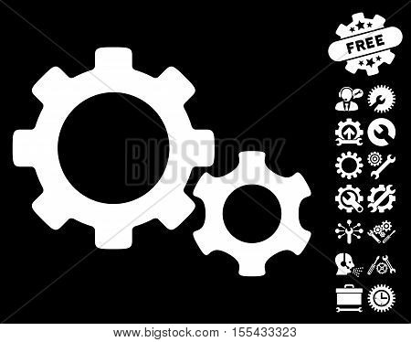 Gears icon with bonus settings pictograph collection. Vector illustration style is flat iconic white symbols on black background.