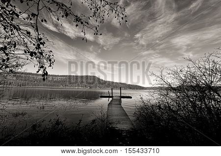 B&W of Chatcolet Lake in Heyburn State Park near Plummer Idaho