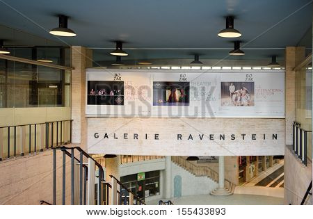 BRUSSELS BELGIUM - SEP 1 2015: Galerie Ravenstein shopping mall with metro station in Brussels Belgium