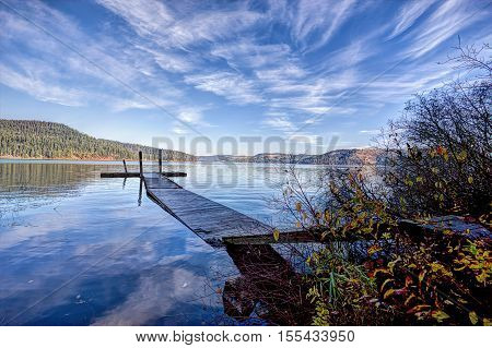 Calm Chatcolet lake in Heyburn State Park near Plummer Idaho