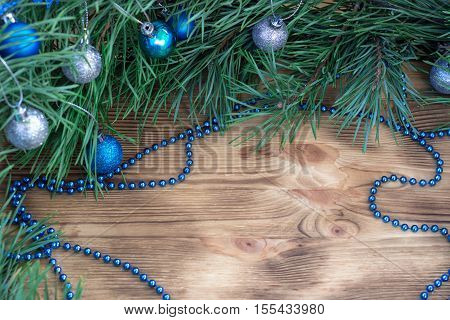 Christmas And New Year Ornament Decoration Background With Copy Space