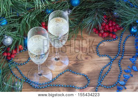 Christmas And New Year Still Life, Champaign, Pine, Ornament Decoration