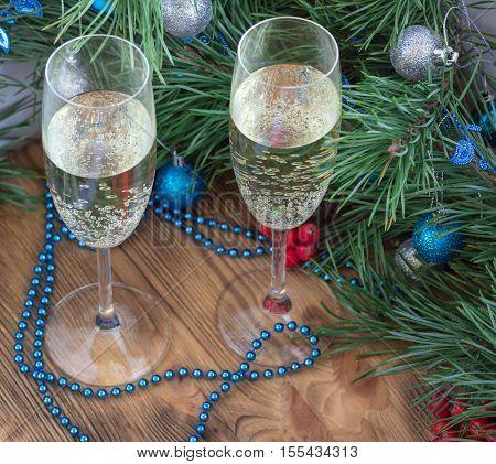 Christmas Composition, Champaign Glasses, Pine, Ornament Decoration
