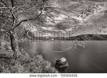 Fine art B&W of lake scene in Heyburn State Park near Plummer Idaho.