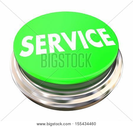 Service Business Green Button 3d Illustration