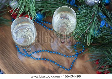 New Year Composition, Champaign Glasses, Pine, Ornament Decoration