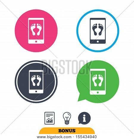 Selfie legs sign icon. Self feet photo on smartphone symbol. Report document, information sign and light bulb icons. Vector
